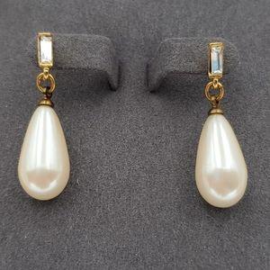 Richelieu Rhinestone & Pearl Drop Earrings